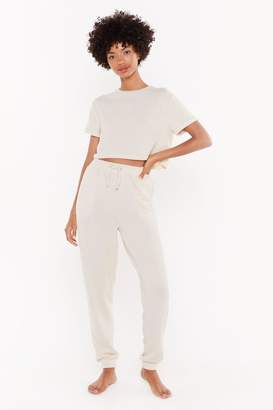 Nasty Gal Womens We'Ve Got The Chill Factor High-Waisted Joggers - Beige - 6, Beige
