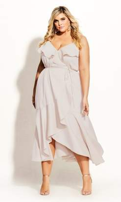 City Chic Ruffle Amore Maxi Dress - gardenia