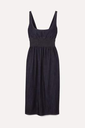 Emilia Wickstead Tavia Shirred Denim Midi Dress - Blue