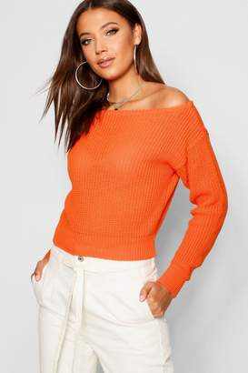 84223b36fb40b boohoo Tall Slash Neck Crop Fisherman Sweater