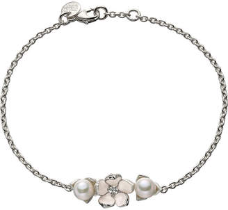Shaun Leane Sterling silver, diamond and pearl single flower bracelet