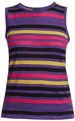 Saks Fifth Avenue Silk Linen Stripe Shell