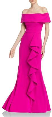 Aqua Off-the-Shoulder Scuba-Crepe Gown - 100% Exclusive