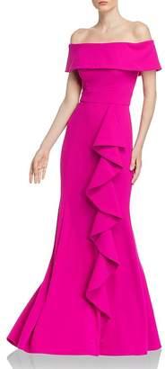 Aqua Off-the-Shoulder Scuba-Crepe Gown - 100% Exclusive