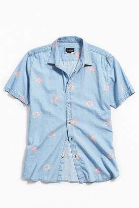 Barney Cools Indigo Floral Short Sleeve Button-Down Shirt