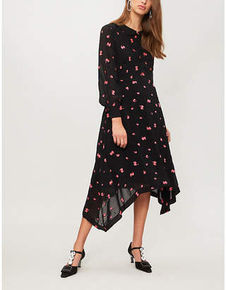 Claudie Pierlot Raft floral and dot-embroidered chiffon dress