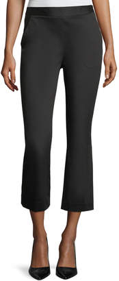Frame High-Waist Kick-Flare Sateen Capri Pants