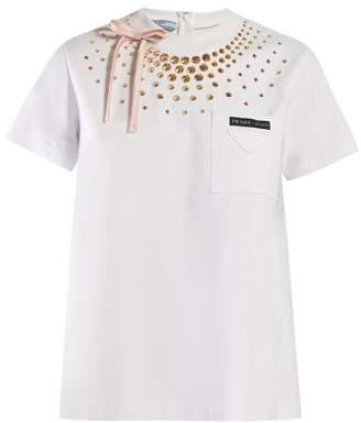 Prada Stud Embellished T Shirt - Womens - White
