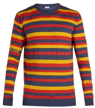 Loewe - Logo Intarsia Striped Sweater - Mens - Orange