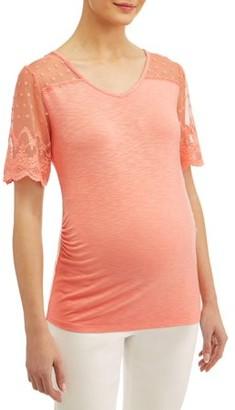 Liz Lange Maternity Maternity Short Sleeve Top with Lace Yoke & Sleeves