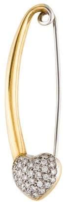 Aaron Basha 18K Diamond Heart Safety Pin Brooch