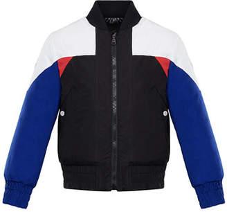 Moncler Bulson Colorblock Baseball-Collar Jacket, Size 4-6