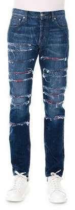 Alexander McQueen Straight-Leg Slashed Selvedge Denim Jeans, Blue $795 thestylecure.com