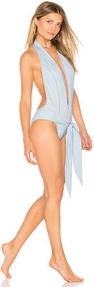 Lisa Marie Fernandez Riri Denim One Piece in Blue $455 thestylecure.com