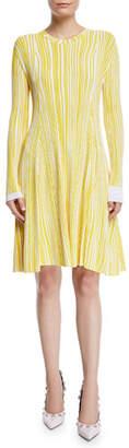 Calvin Klein Irregular-Stripe Crewneck Long-Sleeve Fit-and-Flare Dress
