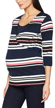 Mama Licious Mamalicious Women's Mldione Tess 3/4 Jersey Top Nf Maternity Long Sleeve, Multicoloured Iris Stripes:Rapture Rose-Black-Snow White, (Size: Large)