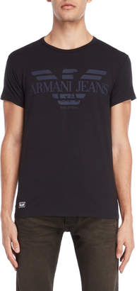 Armani Jeans Black Logo Slim Fit Tee