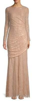 Carmen Marc Valvo Sequin Lace Gown