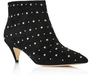 Kate Spade Women's Starr Pointed Toe Two-Tone Studded Suede Kitten Heel Booties