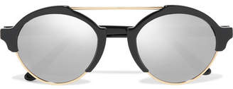 Illesteva - Milan Iii Round-frame Gold-tone And Acetate Mirrored Sunglasses - Black $300 thestylecure.com