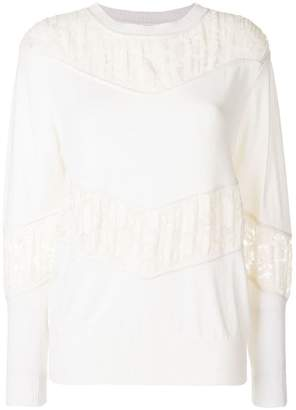 See by Chloe gathered lace panel sweater