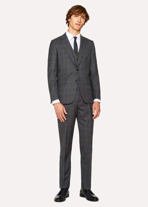 Paul Smith The Soho - Men's Tailored-Fit Charcoal And Blue Windowpane Check Three-Piece Suit