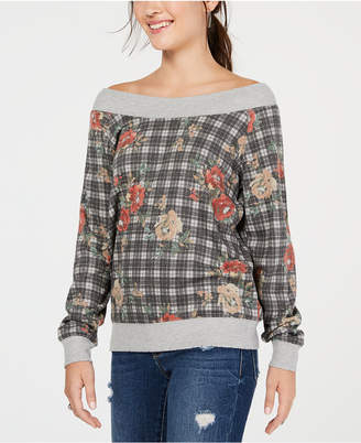 American Rag Juniors' Printed Off-The-Shoulder Sweatshirt