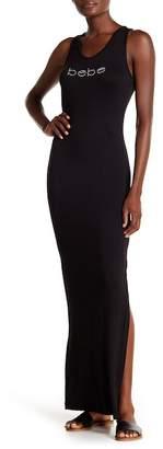 Bebe Ribbed Knit Logo Maxi Dress