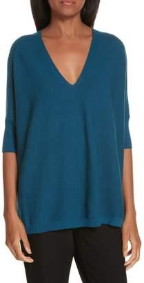 Eileen Fisher Merino Wool Three Quarter Sleeve Sweater