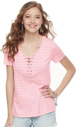 So Juniors' SO Striped Lace-Up Tee
