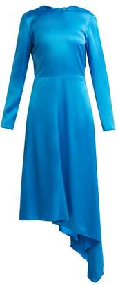 MSGM Asymmetric Hem Satin Dress - Womens - Blue