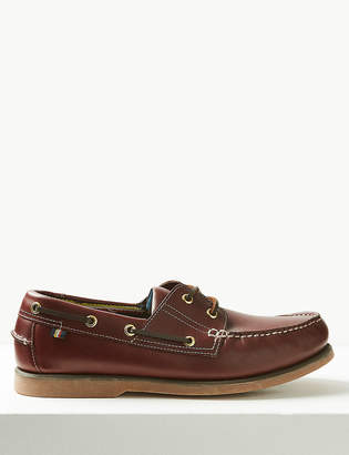Marks and Spencer Leather Lace-up Boat Shoes with Freshfeet
