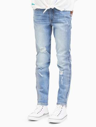 Calvin Klein girls boyfriend fit foil print jeans