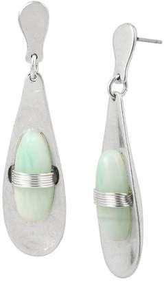 Robert Lee Morris Wire Wrapped Green Stone Teardrop Earrings
