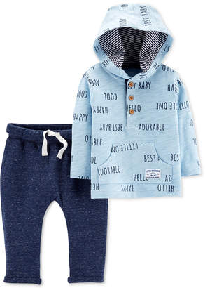 Carter's Carter Baby Boys 2-Pc. Cotton Printed Hoodie & Marled Jogger Pants Set