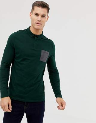 Asos DESIGN long sleeve polo shirt with contrast pocket in khaki