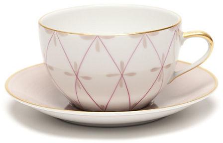 Gump's Marie Daage Tambourin Cup & Saucer, Marron Glace & Camelia