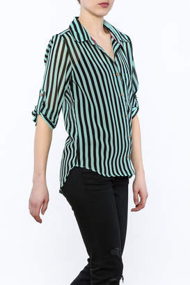 Papermoon Mint Button-Down Top