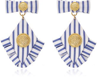 Striped Diamond Ruffle Earrings