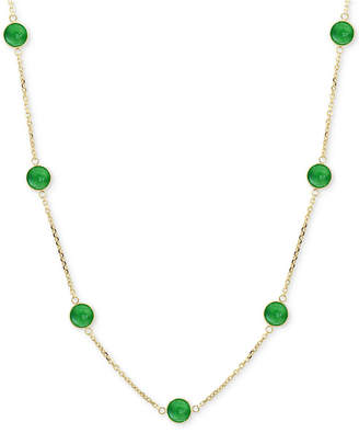 """Effy Jade (6mm) Station Collar Necklace in 14k Gold, 16"""" + 2"""" extender (Also in Onyx & Lapis Lazuli)"""