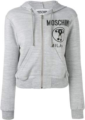 Moschino cropped logo hooded top