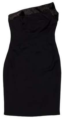 Gucci Strapless Embellished Mini Dress
