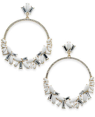 "INC International Concepts I.n.c. Extra Large 3"" Silver-Tone Stone Crystal & Pave Drop Hoop Earrings"