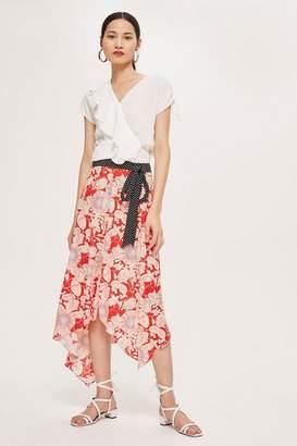 Topshop Floral Spot Trim Midi Skirt