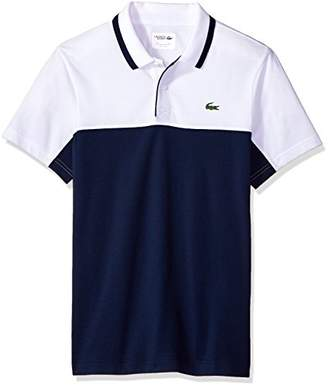 Lacoste Men's Short Sleeve Pique with Colorblock and Jacquard Collar with Contrast Polo