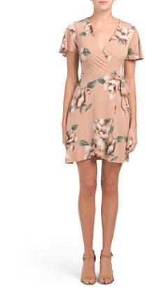 Juniors Short Sleeve Floral Wrap Dress