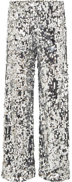 MM6 Maison Margiela - Paillete-embellished Tulle Straight-leg Pants - Silver
