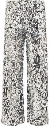 MM6 MAISON MARGIELA Paillete-embellished Tulle Wide-leg Pants - Silver