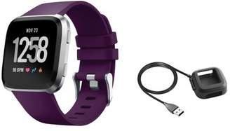 Fitbit Versa Charger and Bands Small by Zodaca Replacement Bands SMALL Size Adjustable Wrist Band Soft Silicone Strap Clasp Buckle + Charging Cable For Versa Fitness Smartwatch - Purple