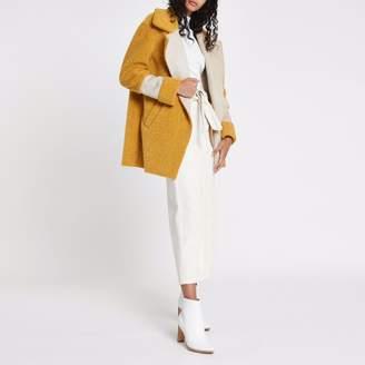 River Island Womens Yellow borg panelled coat